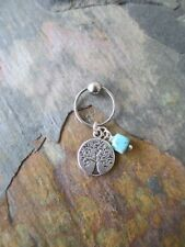 """Turquoise Tree of Life Cartilage Piercing Captive Ring Tragus Earring 16G 1/2"""""""
