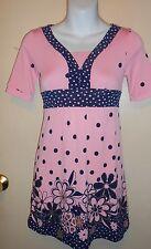 Limited Too Girls Empire Waist Polka Dot & Floral Dress Pink & Navy Ten (10) Nwt