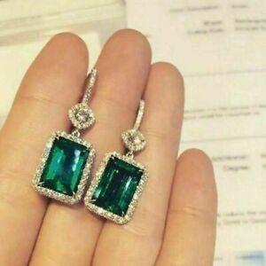 5Ct Emerald Cut Green Emerald Drop & Dangle Halo Earring's 14K White Gold Finish