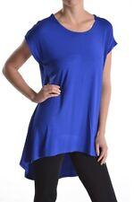 Fashion Women's Scoopneck Short Sleeve High Low Hem Long Tunic Top Dress T-Shirt