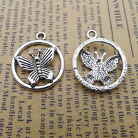 10pcs Round Charms Butterfly Tibetan Silver Beads Pendant DIY 20*23mm