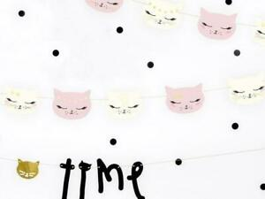 Kitty Cat Party Garland - Pink & White Kitten Party Banner - Birthday Decoration