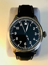 Tisell Pilot Watch Flieger Type A, Automatic, with black Strapsco rubber strap.