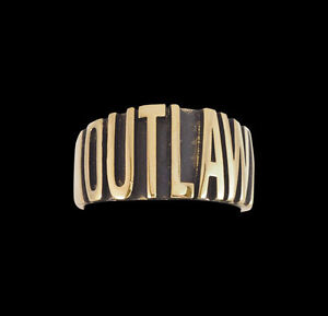 Bronze Band OUTLAW Biker Ring Custom Size Bold Letters handmade Chopper R-196b