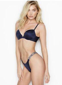 Victoria's Secret Slip Braziliana Con Listini Lucenti/Strass.Colore Blu Scuro.S