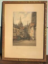 Marcel Augis 1916 Etching / Aquatint, View of Notre Dame Cathedral, Rouen Signed