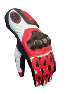 Guanti in Pelle per Moto Stechmoto ST1830-DKH Touring Rosso- Nero&Bianco