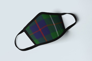 Clan Duncan Tartan Face Mask Scottish Plaid Covering Green Blue Polyester Mask