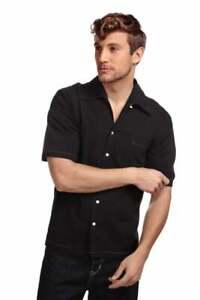 Mens Collectif Harry Havan Black Short Sleeved Shirt Contrast Stitching 50s