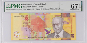 BAHAMAS 5 DOLLARS 2020 P 78 A SUPERB GEM UNC PMG 67 EPQ