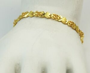 24K Lady's Solid Yellow Gold Fish Link Heart Bracelet 10.7 grams 6.75""