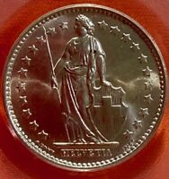 1966 B Switzerland 1 Franc PCGS MS65 CRISP BLAST WHITE SPECIMEN OF A COIN