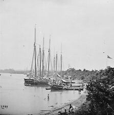 Union Supply Vessels on River- White House Landing, VA - 8x10 US Civil War Photo