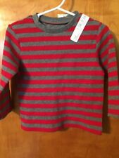 NWT - Infant Boys, First Impressions, Red & Gray Striped Long Sleeve Shirt, 12 M