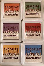 "Pottery Barn Chocolate 4-1/2"" Drink Coaster Set 6Pc French Delespaul-Havez NWOT"