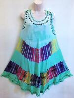 GROOVY Hippie Bohemian India Classic Festival Tie Dye Umbrella Circle Dress Sea