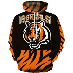 2021 Cincinnati Bengals Hoodie Tiger Pattern Pullover Sports Hooded Sweatshirt