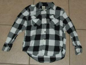 Boys Medium / 8 School or Play Button Down Black & White Plaid Flannel Shirt