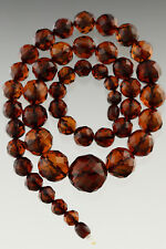 Genuine BALTIC AMBER Round Beads FACETED Spheres Necklace 46.6g 180927-13