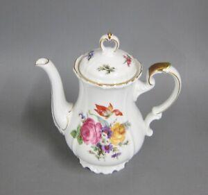 Kaffeekanne 1,3 Liter Kanne Edelstein Maria Theresia Blumenbouquet Goldrand