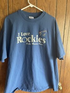 MEN'S VTG HANES I LOVE ROCKIES T-SHIRT XXL ROCKY MOUNTAIN HORSES