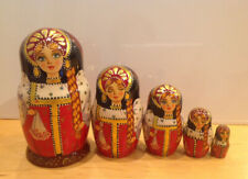 Russian Matryoshka 5 Nest Doll In Traditional Folk Costume Crafts Hand Painted