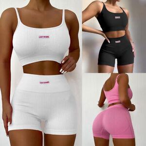 2PCS Women Summer Crop Top Shorts Set Ribbed Sleeveless Sport Tracksuit Playsuit