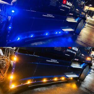 Freightliner Cascadia Side Fairing Blue / Amber Led Lights L+R Side