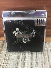 Vintage Lido Automatic Cigarette Lighter Case Combo Floral
