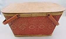 RedMan Picnic Basket Metal Handles Red Wood Weave Vintage Vinyl Tablecloth