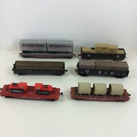 Lot 6 HO Scale Flat Cars Trailers with Loads Pipes Truck Great Northern B&O NH