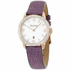 Bulova 98R196 78 Diamonds Rose Gold Tone Purple Stingray Leather Womens Watch