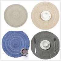 4Pcs Round Braided Placemats Heat-Resistant Non-Slip Table Mats for Dining Table