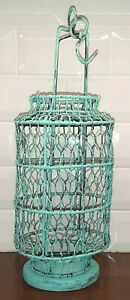 Chinese Twisted Wire Candle Lantern - Peacock Blue Green - Rustic Hand Woven