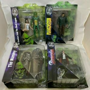 FRANKENSTEIN MUMMY CREATURE DRACULA Universal Studios Monsters Diamond Select x4