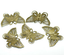 """Lot of 5 BUTTERFLY Antique Bronze-tone FILIGREE WRAPS 1-3/4"""" x 1-1/8"""" (0313)"""