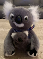 Happy Memories From Australia Flag Bow Gray Fluffy Koala With Baby Plush