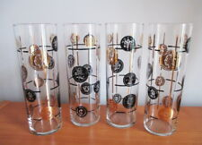 "Libbey Old Coins Set 4 Iced Tea Tumblers 7"" Black Gold 1950s Safedge MCM USA"