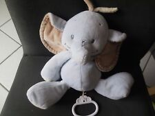 doudou peluche musical éléphant bleu beige Rigolo NATTOU musique 26cm