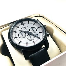 Fossil Men's Black Chronograph Watch With Black Leather Band BQ2133 DISCONTINUED