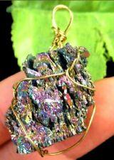 1 Rainbow Titanium Crystal Agate Druzy Quartz Geode Pendant Charm