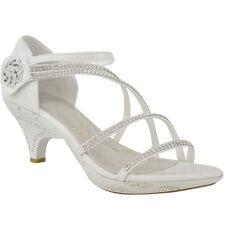 New Womens Ladies Girls Low Heel Bridal Wedding Sandal Kids Diamante Shoes Size