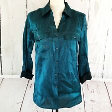 Notations Button Shirt Women's Sz S Shiny Green Teal Roll Tab Sleeve Top Blouse