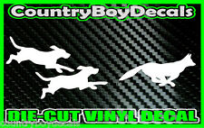 DOGS Chasing FOX * Vinyl Decal Sticker * Hunting Hounds Truck Deer RUN Beagle