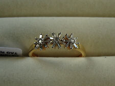1/3Ct Genuine Baguette & Round Diamond Floral 14K Y Gold/925 Ring Size O/7