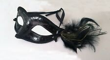 Masquerade Venetian Mask,Royal Elegance Black Tone Half Face W/ Peacock Feather