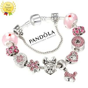 New Pandola Charm Bracelet Silver Disney Minnie Mickey with European Charms Pink