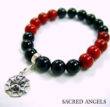 Silver Spider Strech Onyx & Coral  Bracelet With Black Diamond by Sacred Angels