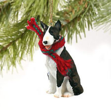 Bull Terrier Brindle Dog Christmas Ornament Holiday Xmas Figurine Scarf gift