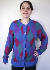 Vintage 80s Harlequin Mohair Shetland Wool Colorful Cardigan Granny Sweater M-L